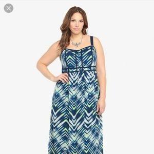Torrid Challis Chiffon Maxi Dress Blue Chevron 20